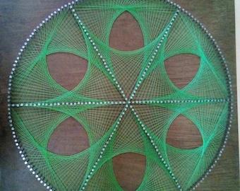 Green flower string art, hilorama, meditation sacred geometry, handmade, eskuz egina