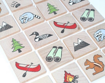 Memory Game- Make a Match Game - Matching Game - Wooden Toy - Wooden Memory Game -Heirloom toy- Nature themed memory game
