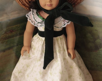 Scarlet O'Hara barbecue dress and hat for 18in American girl dolls