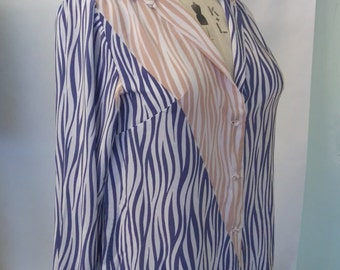 Vintage Size 18 20 22 Blue and Peach Graphic Print Stripe Blouse