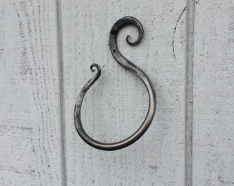 Wrought iron towel ring, scroll towel ring, towel rack, bathroom decor