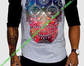 New Men's  Galaxy Skull Black-Gray Baseball T Shirt S-3XL