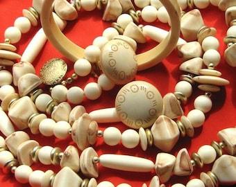 Estate Vintage Lot Set Necklace Earrings Parure Signed Statement Bold Boho Chic Modernist Mid Century Multi Strand Bib Chunky Bangle Mad Men