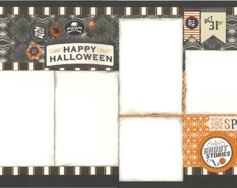 12x12 HAPPY HALLOWEEN scrapbook page kit, premade scrapbook, 12x12 premade scrapbook page, premade scrapbook page, 12x12 scrapbook layout
