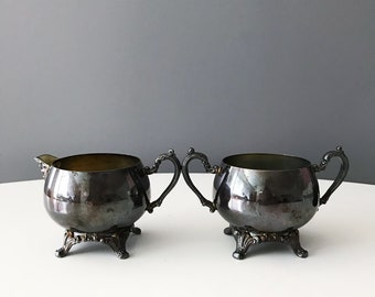 Vintage Oneida Silverplate Sugar Bowl and Creamer Set