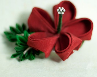 Red Hibiscus Japanese Kanzashi Silk Flower Hairclip, Fascinator, Hawaiian, Tropical, Summer, Destination Wedding, Homecoming, Prom, Formal