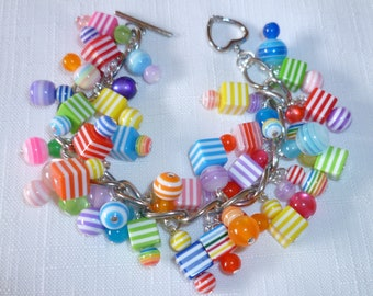 Charm Bracelet, Yummy Colors Red,Pink,Lavender,Blue,Green,Yellow,Aqua,Orange,Purple, Heart Toggle Clasp