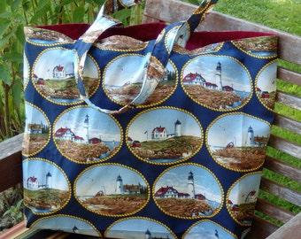 Lighthouses Tote Bag, Jumbo Market Tote, Cloth Grocery Sack, Fabric Shopping Bag, Reusable Bag, Gifts Under 20, Beach Bag, Coastal Chic