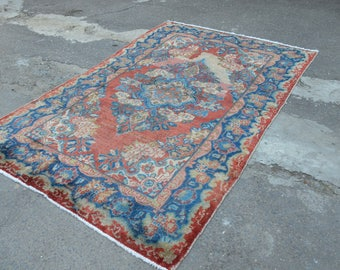 Vintage Persian rug. Blue accent vintage rug. Persian worn rug. Perisan carpet. Free shipping. 6.6 x 4.2 feet.
