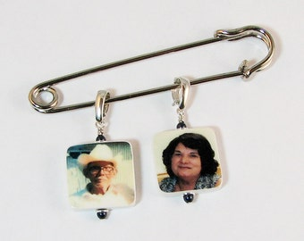 Two Small Photo Charms on a Boutonniere / Corsage Pin - BPP3x2