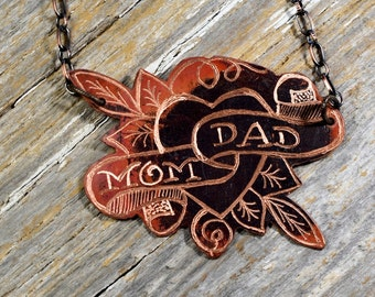 """Tattoo Flash """"Mom and Dad"""" Sailor Jerry Necklace Hand Engraved & Heat Patinaed, Classic Tatto Flash Inspired: Inkd35"""