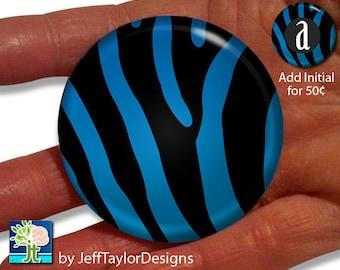 Blue Zebra Print Pocket Mirror