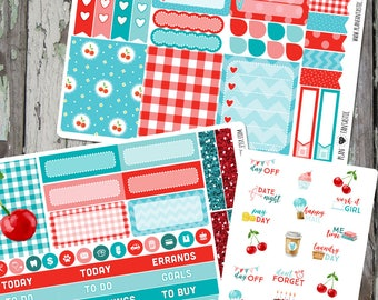 Cherry on Top Weekly Planner Sticker  Kit, journal stickers