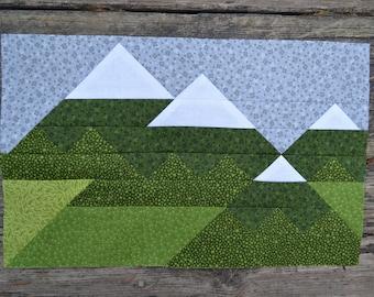Mountain Range Quilt BLOCK Pattern, PDF, Instant Download, modern patchwork, forest, woodland, majestic
