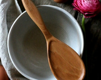 Sturdy Dough Spoon | Short Wooden Spoon | Strong Wood Spoon | Wooden Spoon with Short Handle