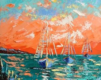 Orange sunrise; Original palette knife oil painting; framed