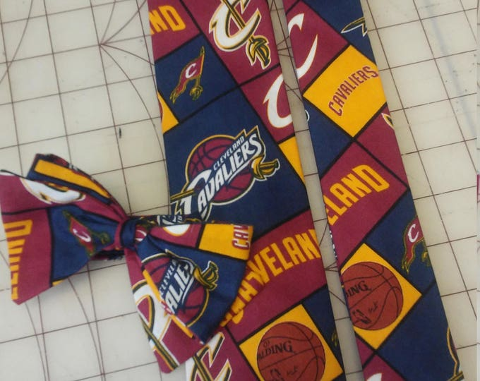 Featured listing image: NBA Cleveland Cavaliers Neckties in bow tie, skinny tie, and standard tie styles, kids or adult sizes