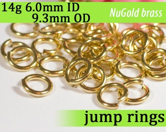 14g 6.0mm ID 9.3mm OD NuGold brass jump rings -- 14g6.00 open jumprings gold golden links