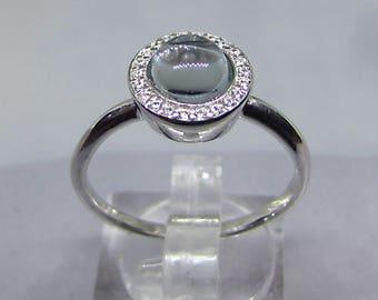 Ring Feminine Opalescent Blue Topaz on silver size 54