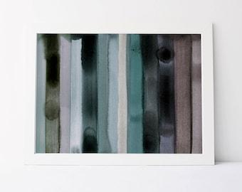 Watercolor Stripe in Cool Palette - Fine Art Print