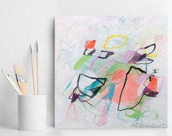 """Painting Pink Aqua Abstract Painting Soft nursery art Small Original Art, Dreamy Above Crib Decor """"A Complex Soul"""" by Duealberi"""
