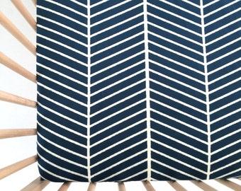 Crib Sheet Navy Outline Chevron. Fitted Crib Sheet. Baby Bedding. Crib Bedding. Crib Sheets. Navy Crib Sheet.