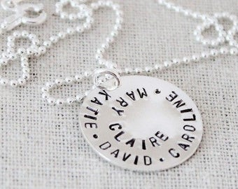 custom names necklace, grandmother necklace, personalized discs, spiral stamped disc, sterling silver name jewelry, nana necklace