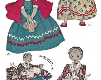 Vintage Upside Down Topsy Turvy Cloth Doll Pattern Little Red Riding Hood Grandma PDF Instant Download ePattern