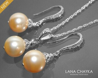 Peach Pearl Jewelry Set Swarovski 10mm Pearl Earrings&Necklace Set Peach Pearl Wedding Jewelry Set Bridal Bridesmaid Peach Pearl Jewelry