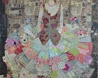 Fiberworks Laura Heine Collage The Dress Little Girl Quilt Pattern 50 x 70