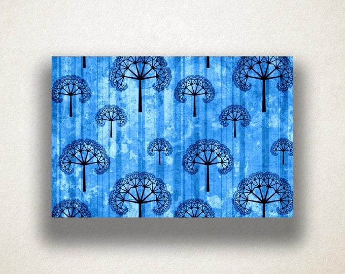 Embellished Tree Design Canvas Art Print, Grunge Wall Art, Blue Tree Design Canvas Print, Canvas Art, Canvas Print, Home Art, Wall Art