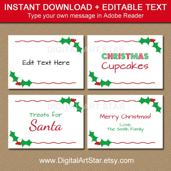 Printable Christmas Labels Tent Cards Holiday Place Buffet Food