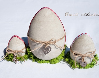 Concrete Easter eggs Country house art set of 3