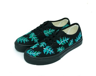 Black With Leafs Vans Authentic