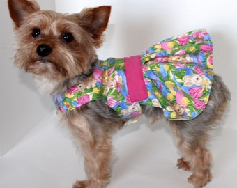 Easter Dog Dress, SX and S Bunny and floral designer Dresses for dogs, Holiday Pet Clothing, Fashion Dog Clothes