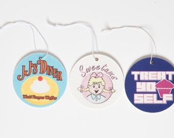 """Parks and Recreation Air Fresheners Set of 3 - Sweetums, JJ's Diner, and """"Treat Yo Self"""""""
