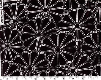 1 Yard, David Textiles White Flowers on Black
