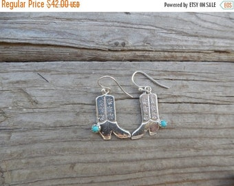 ON SALE Cowboy boot earrings handmade in sterling silver with turquoise