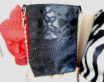 Black women's bag and chain shoulder strap, leather, imitation bag purse black faux reptile