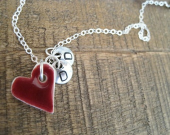 Dear to My Heart Personalized charm Necklace- Sterling Silver and Porcelain