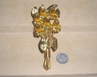 Vintage Signed Monet Wire Work Budding Flowers Fur Clip 1940's Jewelry 6076