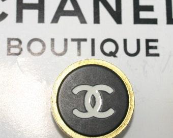 BLACK WHITE GOLD Authentic Chanel Button