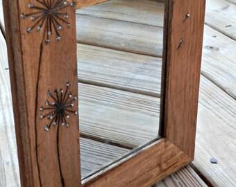 Dandelion - Woodburned Mirror - Rustic Wood Mirror