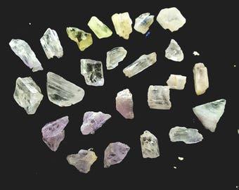 Kunzite Hiddenite - Spodumene Crystals RAW // Pink Green Yellow Clear Blue // Love ~ Gratitude