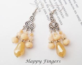 Boho earrings Charm Earrings Glass earrings Beaded earrings Drop earrings Dangle earrings Elegant earrings Crystal earrings Gift for her