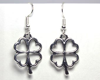 Silver Finished Four Leaf Clover Dangle Earrings, St. Patrick's Day Earrings