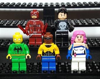 Defenders Set Of 5 Custom Marvel Comics Minifigures Daredevil Punisher Jessica Jones Luke Cage Iron Fist  Building Block Toy