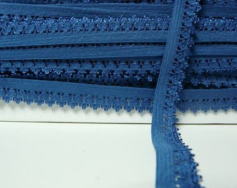 Lace 14mm cobalt blue picot edge elastic Ribbon by the yard
