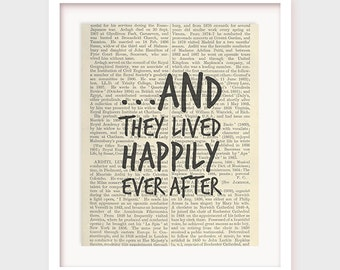Wedding Gift, And They Lived Happily Ever After, Gift For Bride, Wedding Quote, Printable Wall Art, Instant Download