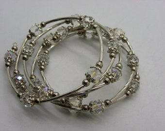 Bracelet 5 rounds, with white Crystal, the intercalaites
